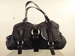 Cole Haan Women's Black Nylon/Patent Leather Satchel Handbag Purse