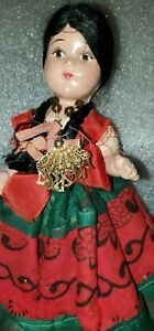 """Mexican Souvenir Composition/ girl  Doll~Orig.Outfit, beautiful! 9"""""""