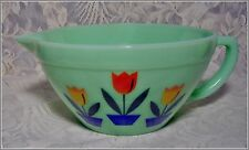 VINTAGE STYLE JADE GREEN GLASS MIXING BOWL with HANDLE ~ TULIP DESIGN ~  Jadeite