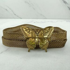 1928 Gold Tone Metal Mesh Butterfly Buckle Belly Body Chain Link Belt Size S