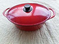 Cocotte ovale COUSANCES rouge en fonte vintage-casserole émaillée-made in France
