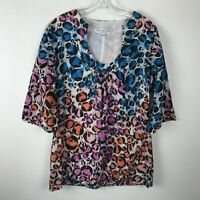 Trina Turk Animal Print Blouse Size 8 Blue Pink Orange 3/4 Sleeve Cotton Silk