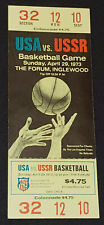1973 - USA vs USSR - BASKETBALL GAME - *RARE* COMPLETE UNUSED TICKET - ORIGINAL