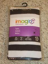 NIP Imagin8 Halloween Costume Tights Pantyhose Black White Stripe Cos Play OSFM