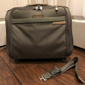 Briggs Riley Travelware Olive Rolling Expandable Bag wheel Laptop Computer Khaki