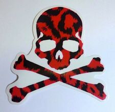 Toxic Skull Red Leopard Transparent Sticker Decal Vinyl Car Guitar Suitcase Bike