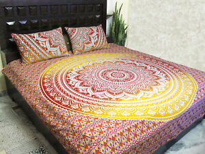 New Indian Mandala Special Queen Size Cotton Bed Sheet with 2 Pillow Cover Throw