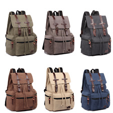 Men Women Real Leather Canvas Backpack Tourist Camping School Bag Rucksack
