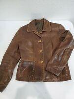 Designer Women's Lucchese Distressed Fine Italian Leather Coat Jacket Size 6