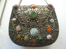 Vintage SAJAI METAL DESIGNED PURSE Agate Stones