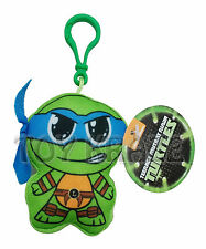 "TEENAGE MUTANT NINJA TURTLES FLAT PLUSH KEY CHAIN! LEONARDO BLUE TMNT 3"" NEW"