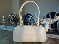 US Seller Authentic SALVATORE FERRAGAMO EMBOSSED SNAKE SKIN LEATHER SMALL BAG