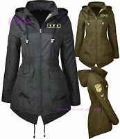 NEW Ladies MILITARY RAIN MAC PARKA Womens SHOWER Festival RAINCOAT Size 8-24ARMY
