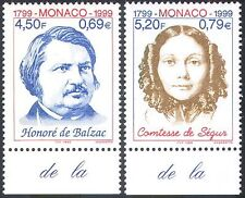 Monaco 1999 Balzac/Rostopchine/Writers/Books/Literature/People 2v set (n41441)