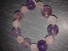 Bracelet en perles d'améthyste et quartz, 1 rang, diamètre 55 mm, élastique...