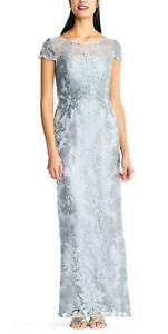 ADRIANNA PAPELL® 8 Mist Blue Pop Over Embroidered Gown or Dress NWT $199