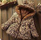 Kids Baby girls winter Add wool leopard grain Hooded Coat Outerwear Jacket Tops