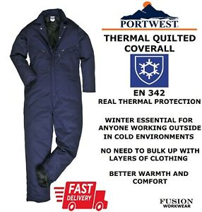 QUILTED COVERALL,THERMAL OVERALL,PORTWEST,PADDED,LINED,WINTER,WARM,NAVY,WORK,DIY