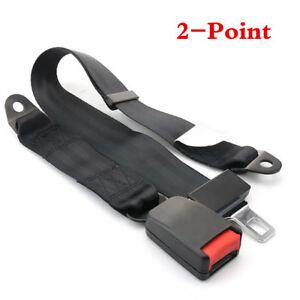 Universal Car Truck Seat Belt Lap Belts Adjustable Two 2 Point Bolt Safety Black
