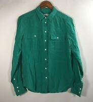 J Crew Women's Size 2 100% Silk Green Button Down Shirt Top Long Sleeve
