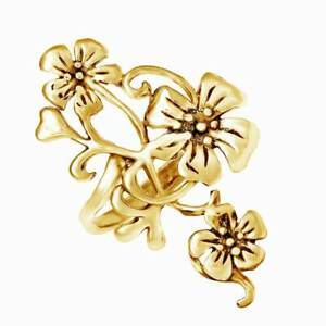 Delightful Plumeria Bouquet Floral 14K Yellow Gold Over Silver Ring For Women's