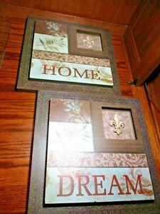 Set (2) Dream Believe/Wood Wall Mount Contemporary Inspirational Home Decor  Box