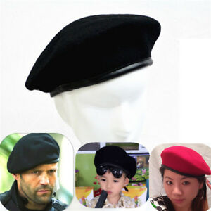 Mens Ladies French Style Beret Cap Military Army Soldier Wool Beanie Hat Outdoor