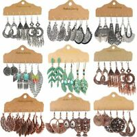 3 Pairs Retro Boho Gypsy Earrings Set Tribal Ethnic Drop Dangle Women Jewellery