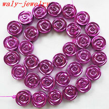 Q58063 Beautiful Carved 1 strand Hematite flower loose bead 15.5 inch