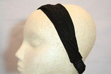 Metallic shine black soft womens headband hair band kerchief turband no ouch
