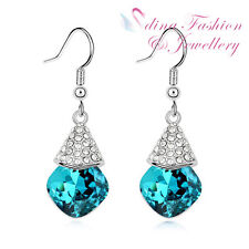 18K White Gold Plated Made With Swarovski Crystal Turquoise Dangle Earrings
