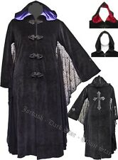 Jordash Dark Star Black Velvet Hooded Coat Lace Batwing Purple lining Pagan
