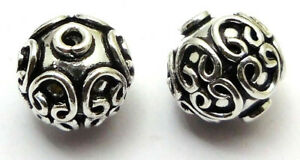 4 PCS 14MM BALI BEAD ANTIQUE STERLING SILVER PLATED 752 FUL-475