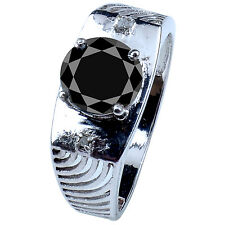 Rough Diamond Men'S Ring .925 Silver 2.38ct Aaa =Black Moissanite Round & Real