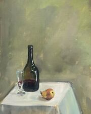 A4 Print of Original oil painting art still life wine and a pear vintage style
