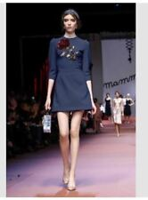 Sequined Floral Navy Blue Dress #A1267
