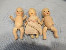 """Antique Tiny Bisque~ String Jointed Baby Dolls ~ Japan 3 1/2"""""""