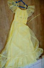 VINTAGE 1960's YELLOW BROCADE LONG DRESS RUFFLES -SIZE 7
