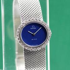 1970's OMEGA DE VILLE BLUE DIAL DIAMOND BEZEL 18K SOLID WHITE GOLD LADIES WATCH