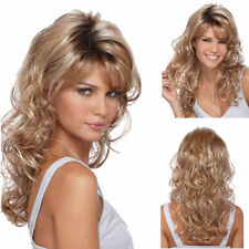 New Long Light Brown&Blonde Mix Women Wig Resistant Wave Curly Synthetic Wig