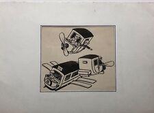 MARCEL CAPY (1865-1941) Dibujo Antiguo Tinta c.1910 Máquinas vuelo