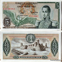 COLOMBIE billet neuf de 5 PESOS DE ORO Pick406f CONDOR CHATEAUFORT CORDOBA 1980