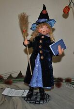NEW ANNALEE HALLOWEEN DOLL BEWILDA WITCH Broom Book Pumpkin Hat 10""