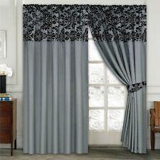 "Luxury Damask Curtains Pair of Half Flock Pencil Pleat Window Curtain 66"" X 72"" Grey"