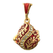 Faberge Egg Pendant / Charm with crystals 2.2 cm red #2-1016-05
