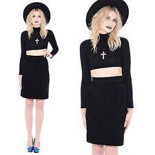Vintage 80s 90s Black SUEDE Leather High-Waist Mini Skirt Wiggle Pencil Dress M