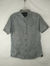 Marc Ecko shirt small button S short sleeve  cut and sew stripe black white