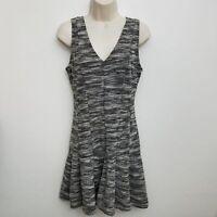 Banana Republic Womens Tweed Fit Flare Dress 8 Black White V Neck Sleeveless