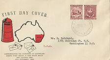 1950 Australia 1st stamp centenary pair on Guthrie specific cachet FDC addressed