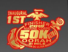 44th Marine Corps Ultra Marathon 50K D.C.Finisher Red Gold color Decal Car